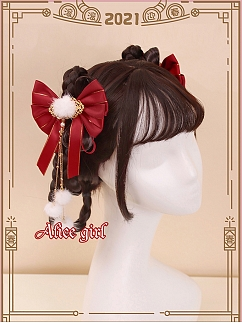 Panda Qi Lolita Bowknot Hairclips by Alice Girl