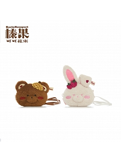 Cocoa Teddy / Strawberry Bunny Head Doll Lolita Crossbody Mini Bag by Bacio Bouquet