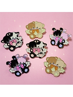Double Heads Design Kitty / Bunny / Bear Brooch by Bully Bunny