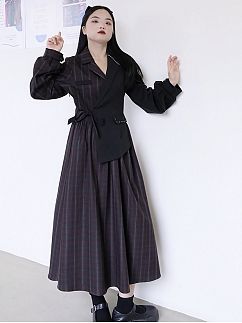 Plus Size Irregular Long Sleeve Dress by Cheese Day