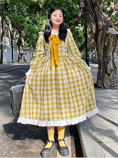 Plus Size Yellow Long Sleeve Dress by Cheese Day