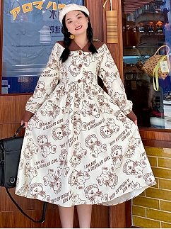 Plus Size Gummy Bear Long Sleeve Dress by Cheese Day