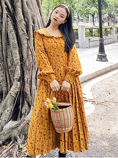 Plus Size Orange Long Sleeve Dress by Cheese Day