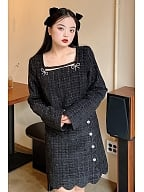 Plus Size Elegant Square Neckline Top / Skirt Set by Cheese Day