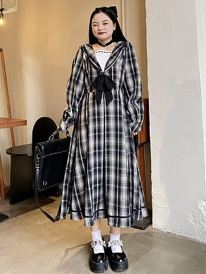 Plus Size Dawn Light Sailor Collar Plaid Long Dress by Cheese Day