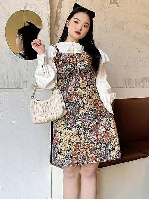 Plus Size Ancient Early Spring Apricot Floral Overall Dress by Cheese Day