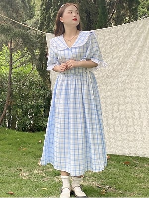 Plus Size Letter from The Sky Sailor Collar Plaid Dress by Cheese Day