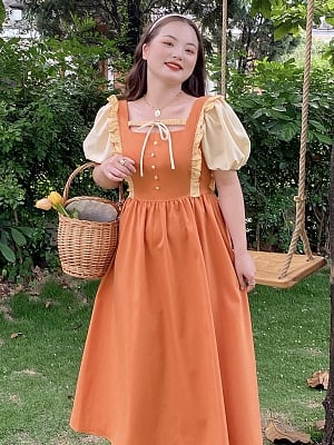Plus Size Citrus Soda Princess Short Puffy Sleeves Long Dress by Cheese Day