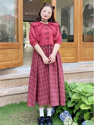 Plus Size Red Mary Double Layers Collar Plaid Skirt Long Dress by Cheese Day