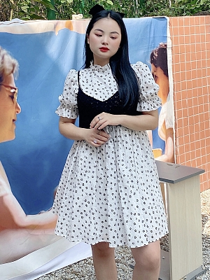 Plus Size White Camellia Short Puffy Sleeves Floral Dress with Vest by Cheese Day