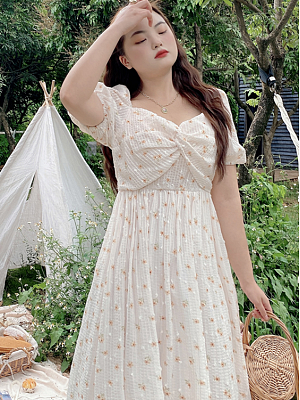 Plus Size Mermaid Princess Sweetheart Neckline Short Puffy Sleeves Dress by Cheese Day