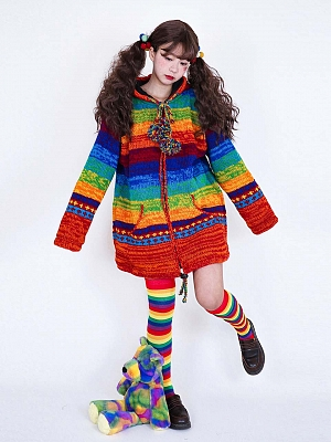 Rainbow Hooded Loose Winter Cardigan by Catfish Firm