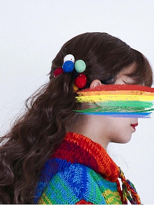Handmade Rainbow Woolen Balls Hairrope by Catfish Firm