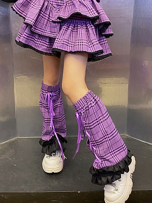 Purple Plaid Y2K Legwears by Coolulu