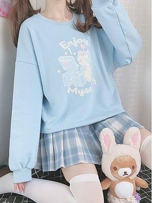 Enjoy Myself Kawaii Internet Surfing Kitty Print Light Blue Simple Design Top by Catwish