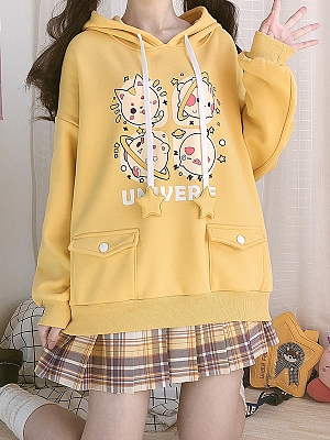 Animal Planet Loose Yellow Hoodie by Catwish