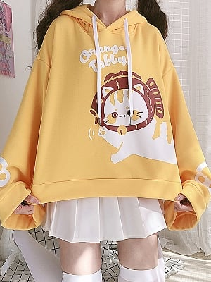 Orange Tabby Loose Yellow Hoodie by Catwish