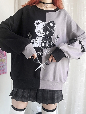 Dark Bear Asymmetric Design Loose Sweatershirt by Catwish