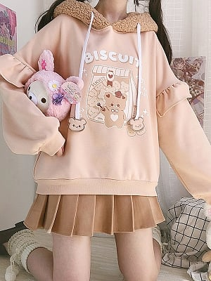 Biscuit Teddy Plush Hat Loose Hoodie by by Catwish