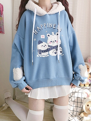 Polar Bear Snowman Happiness Plush Hat Loose Hoodie by by Catwish