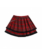 Red Plaid Double Layered Flounce Skirt by DIET GRRRL