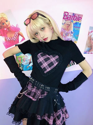 Heart Shaped Plaid front T-shirt with Sleeves by DIET GRRRL