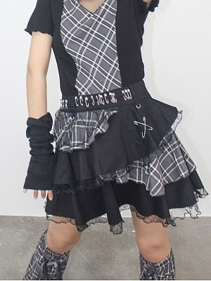 Y2K Gray Plaid Mini Skirt with Chain by DIET GRRRL