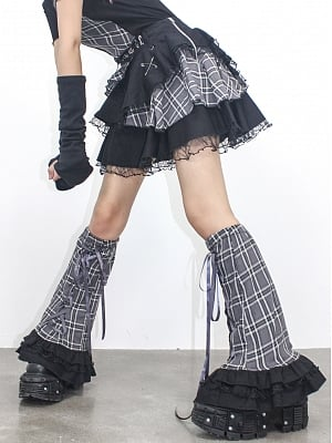 Y2K Lace-up front Plaid Leg Wears by DIET GRRRL