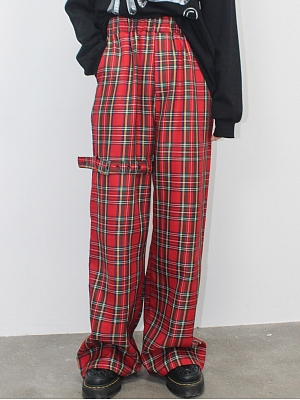 Red Plaid Wide Leg Trousers by DIET GRRRL
