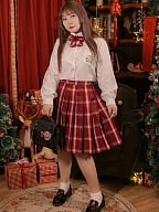 Plus Size Goldfish Fireworks Red Plaid Pleated Skirt by Hard Candy