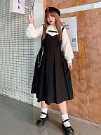 Plus Size Pointed Collar Shirt / Black Overall Dress Set by Hard Candy