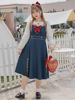 Plus Size Snow White JK Uniform Sailor Collar Shirt / Overall Dress / Jacket Set by Hard Candy