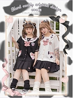 Plus Size Cow Kindergarten JK Uniform Sailor Collar Shirt / Pleated Skirt by Hard Candy