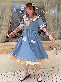 Plus Size Duck Paradise Sailor Collar Long Dress by Hard Candy
