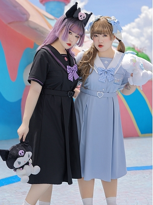 Plus Size Sanrio Authorized Navy Collar Short Sleeves Dress by Hard Candy