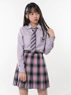 Sanrio Authorized Kuromi JK Uniform Long Sleeves Pointed Collar Shirt by KYOUKO