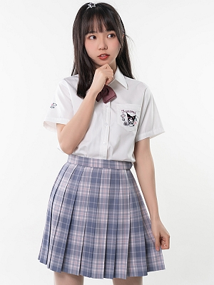 Sanrio Authorized Kuromi JK Uniform Short Sleeves Pointed Collar Shirt by KYOUKO