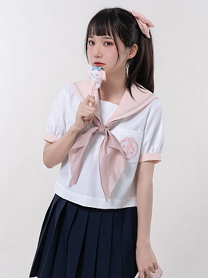 Sanrio Authorized My Melody Sailor Collar Short Sleeves Top by KYOUKO