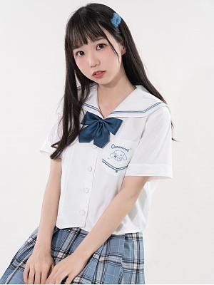 Sanrio Authorized Cinnamoroll Sailor Collar Short Sleeves Top by KYOUKO