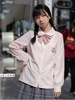 Sanrio Authorized Hello Kitty Peter Pan Collar Long Sleeves Shirt by KYOUKO