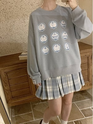 Doraemon Authorized  Blue Loose Sweatshirt by No Worries