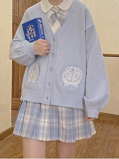 Doraemon Authorized  College Style Blue Cardigan by No Worries