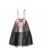 Pink Skirt with Black Gauze by PINK SAVIOR