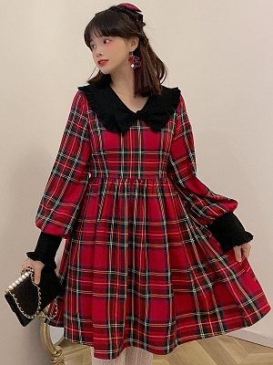 Black Square Collar Red Plaid Dress by SanKouSan