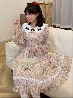 Elegant Peter Pan Collar Floral Dress by SanKouSan