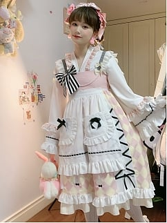 Kitchen Maid Alice Pink Lolita Dress JSK Set by SanKouSan