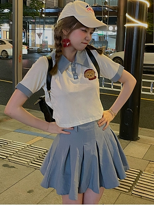 Cute Bear Polo Collar T-shirt / Pleated Skirt Set by SanKouSan