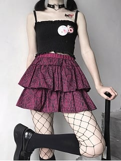 Tulle Double Layered Flounce Plaid Y2K Skirt by Sweet Girl House