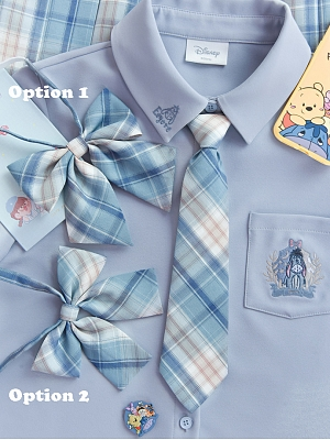 Disney Authorized Eeyore Plaid Skirt Matching Bow Tie / Tie / Shoulder Straps by Mori Tribe