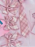 Disney Authorized Piglet Plaid Skirt Matching Bow Tie / Tie / Shoulder Straps by Mori Tribe